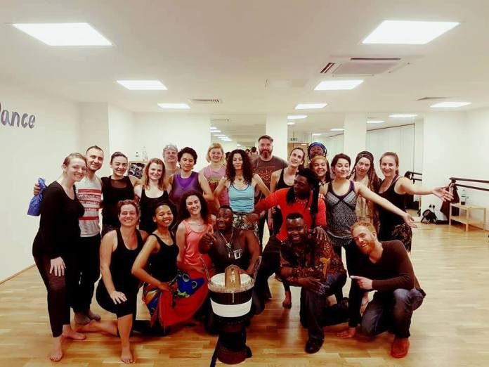 Djembe dance workshop at a studio in Brixton, London with Idrissa Camara from Guinea, West Africa